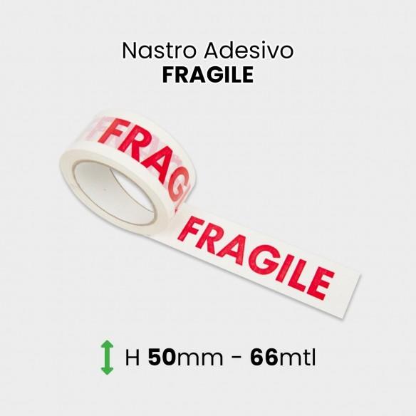 """Nastro adesivo con scritta """"FRAGILE"""" altezza 50 mm lunghezza 66 mt"""