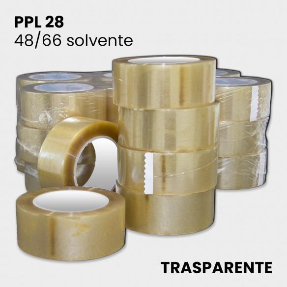 Nastro adesivo trasparente solvente PPL 28 altezza 48 mm lunghezza 66 metri