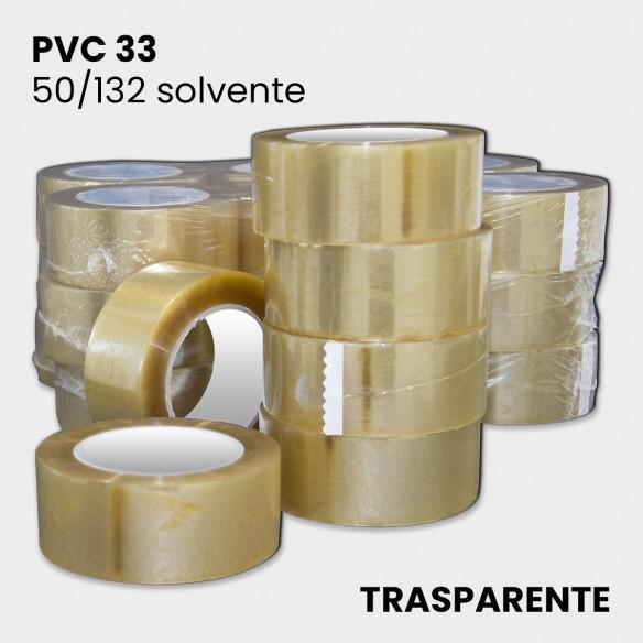 Nastro adesivo trasparente solvente PVC 33 altezza 50 mm lunghezza 132 metri