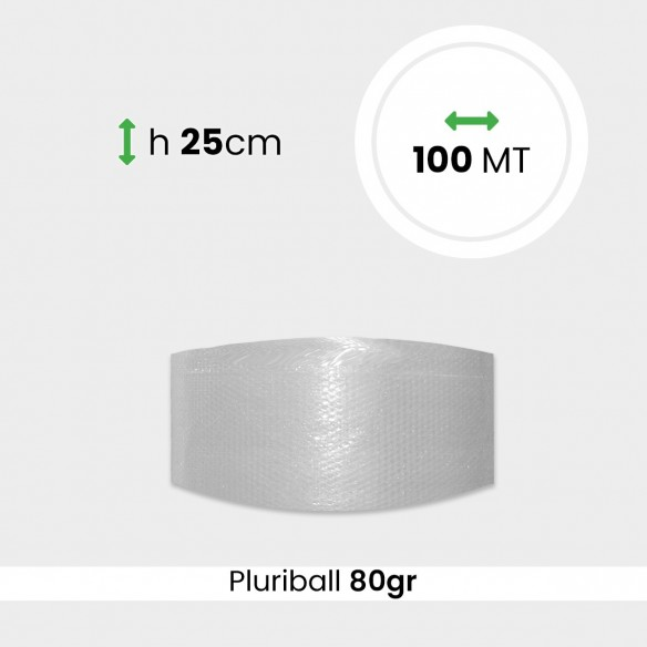 Bobina pluriball media resistenza altezza 25cm lunghezza 100m