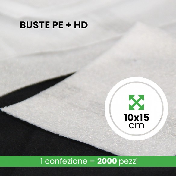 Buste Polietilene Espanso + HD lunghezza 10 cm altezza 15 cm